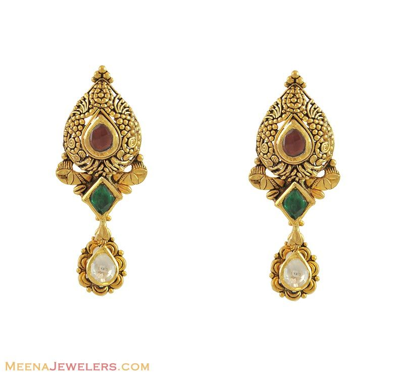 Antique Kundan Earrings - - gold designer earrings, studded with color  kundan stones (antique finished) Earring type: Scr. Find this Pin and ...