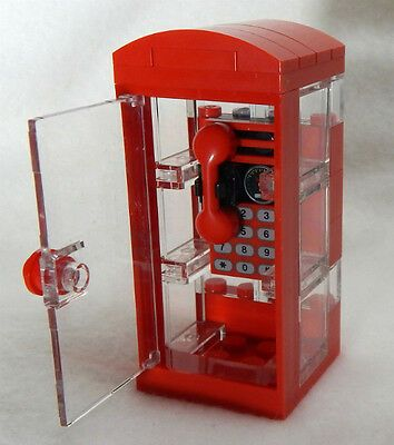 NEW LEGO PHONE BOOTH city town minifig street minifigure scale telephone red #af…