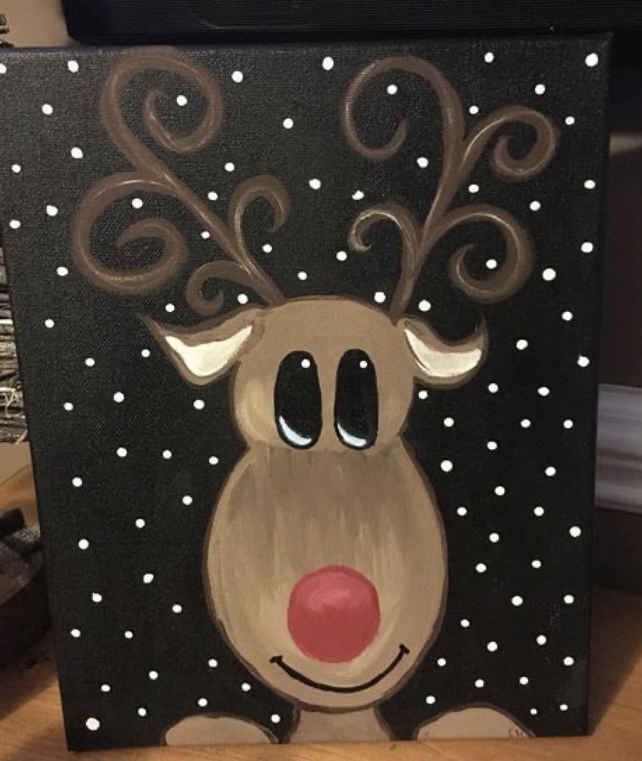 Pin By Sarah Szarejko On Winter And Christmas Painted Rocks Christmas Canvas Diy Christmas Canvas Christmas Paintings On Canvas