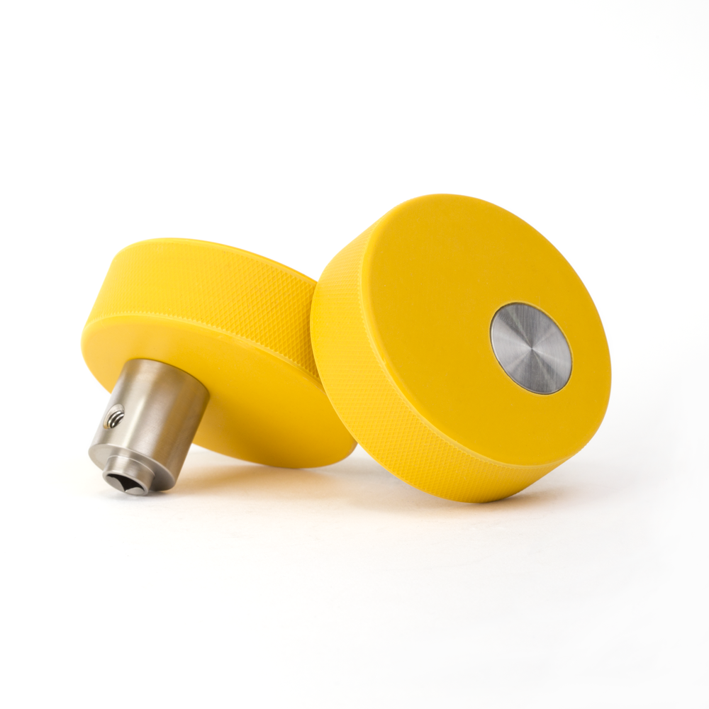 ModKnobs - Yellow Puck Pivot. Unique and colorful interior and exterior modern door knobs that pivot off-center.