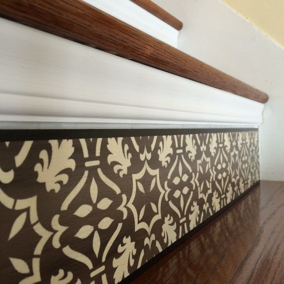 Carved Wood Stair Risers Stair Ideas Stamped Leather: Alternative To Vinyl Decals, Stair Decals