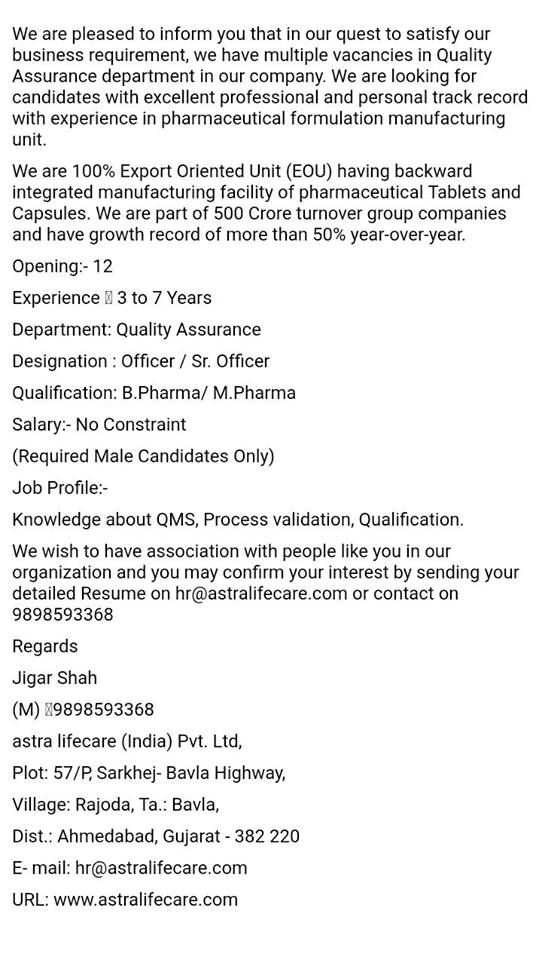 Pharma Wisdom Multiple Vacancies In Quality Assurance Department