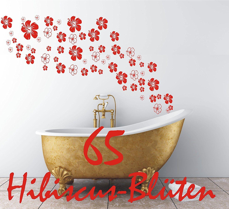 Daslabel Wandtattoo Fliesentattoo Blumen X Hibiskus Blüten - Fliesentattoos badezimmer
