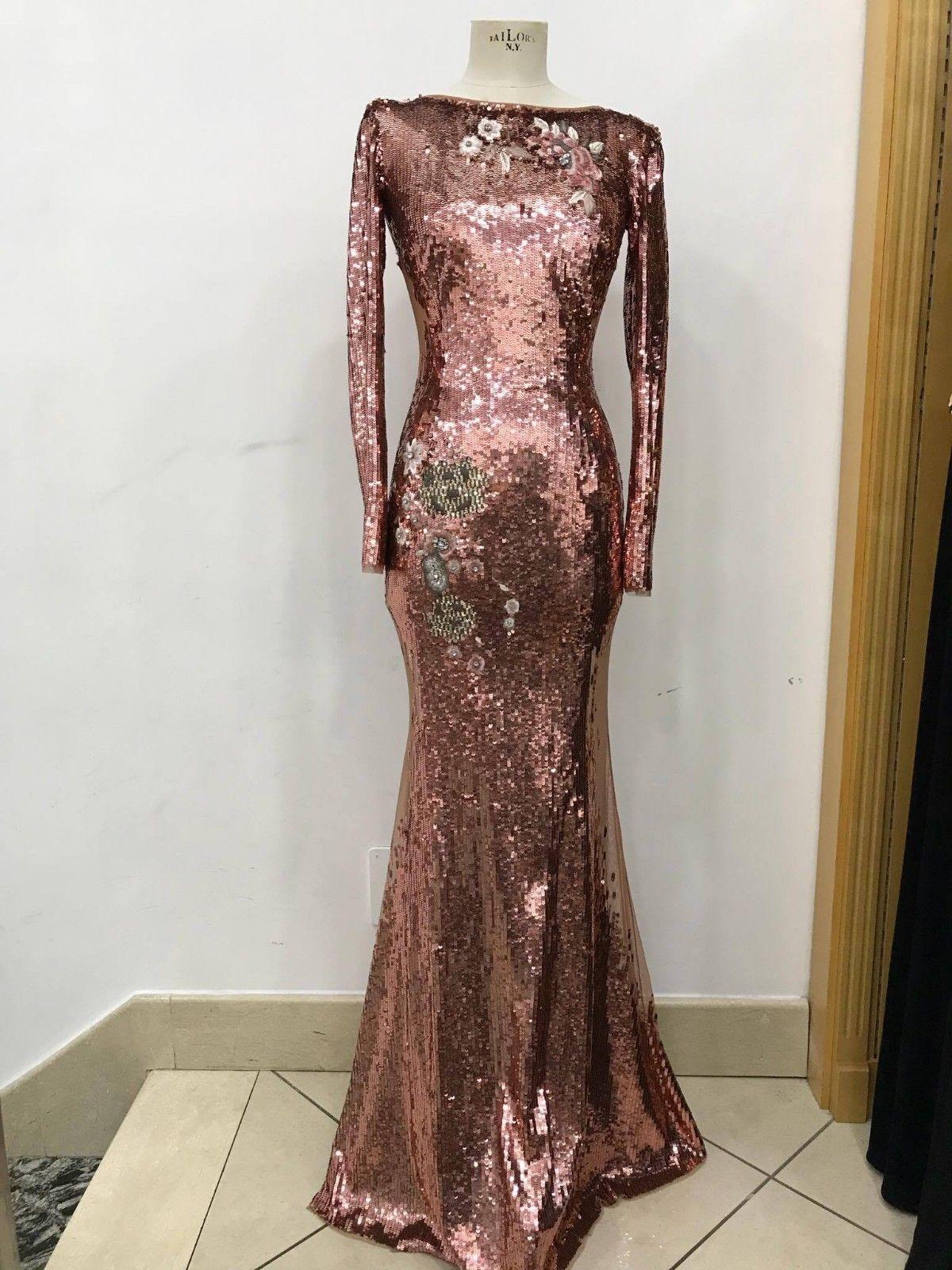 Elisabetta franchi arje red carpet long dress with sequins