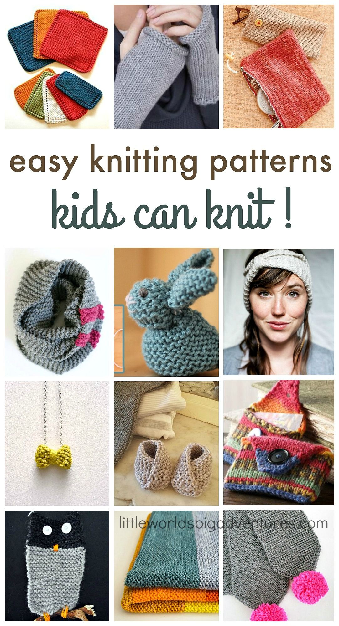 Easy knitting patterns kids can knit! #knittingpatterns #teens #tween #knitting_inspiration | Little Worlds Big Adventures