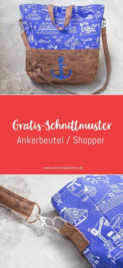 Gratis-Schnittmuster: Maritimer Shopper | nähen | Pinterest | Gratis ...