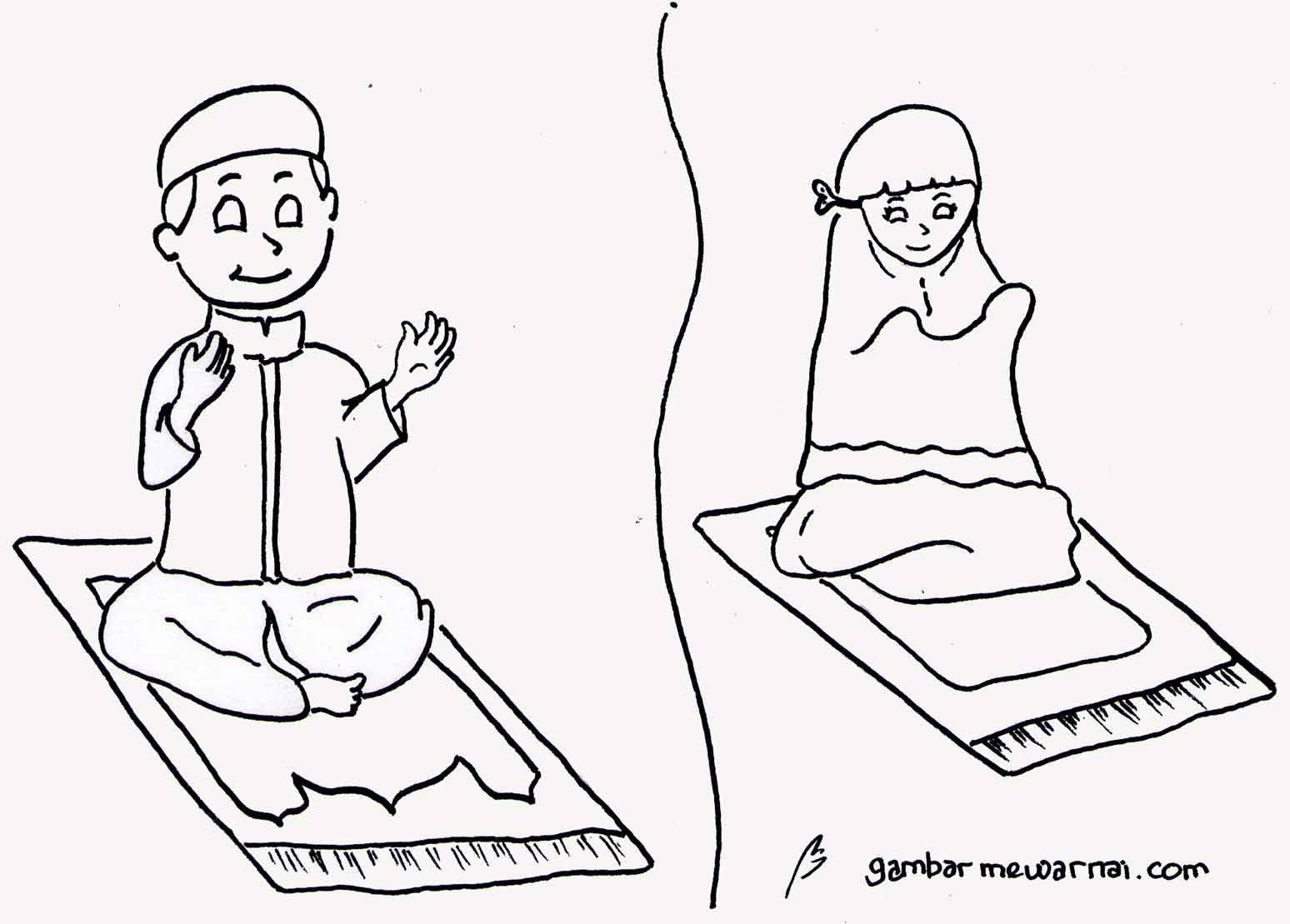 Download Sketsa Gambar Seri Anak Muslim