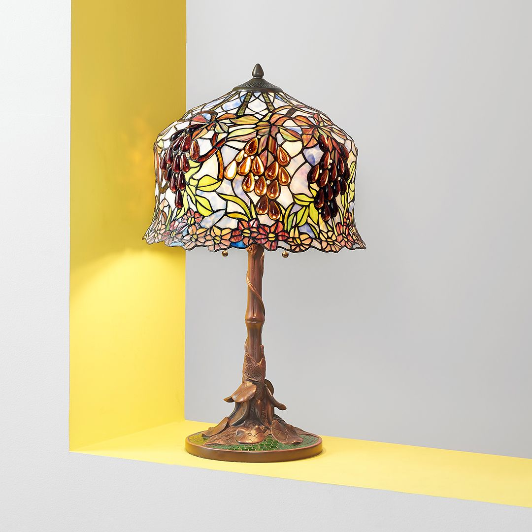 Tiffany Style 27 Whispering Vineyard Stained Glass Table Lamp On Sale At Shophq Com In 2020 Stained Glass Table Lamps Glass Table Lamp Tiffany Style Lighting