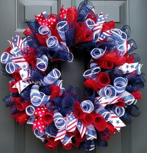 Veterans Day Wreath, 4th of July Decor, Fourth of July Wreath, Summer Wreath, Fourth of July Decor, Memorial Day Wreath, Patriotic Wreath #veteransdaydecorations Veterans Day Wreath, 4th of July Decor, 4th of July Wreath, Memorial Day Wreath, Patriot Day Wreath, Veterans gift  Celebrate freedom with this Red, White and Blue, Patriotic Wreath. Constructed on a wire wreath frame with three different patterns of Poly Deco Mesh: Metallic Navy/Royal, Metallic #veteransdaydecorations Veterans Day Wrea #veteransdaydecorations