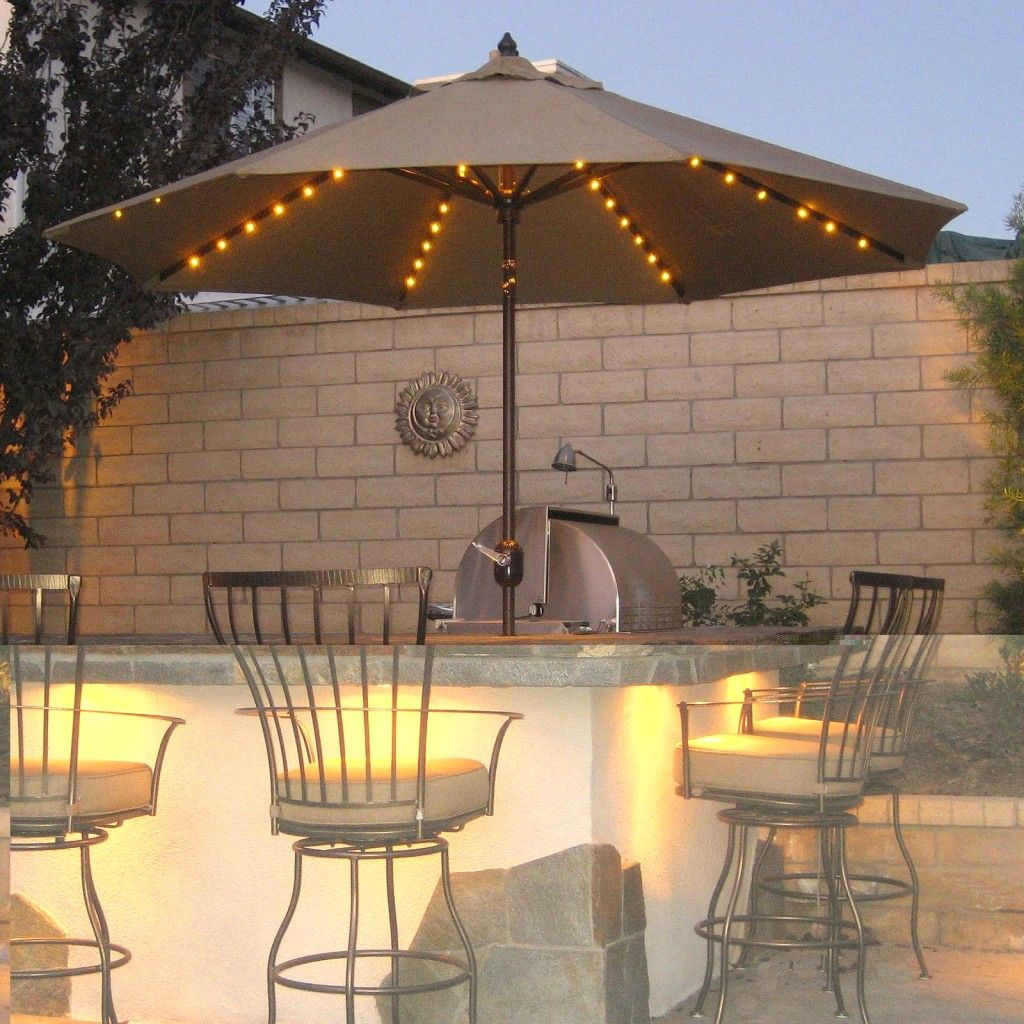 Gorgeous Outdoor Space With Patio Lighting Fixtures (i Love Lights Under  The Umbrellas Like That
