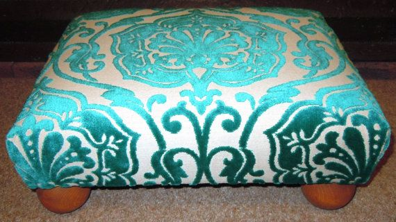 Upholstered teal footstool velvet brocade by GillyflowerDesign