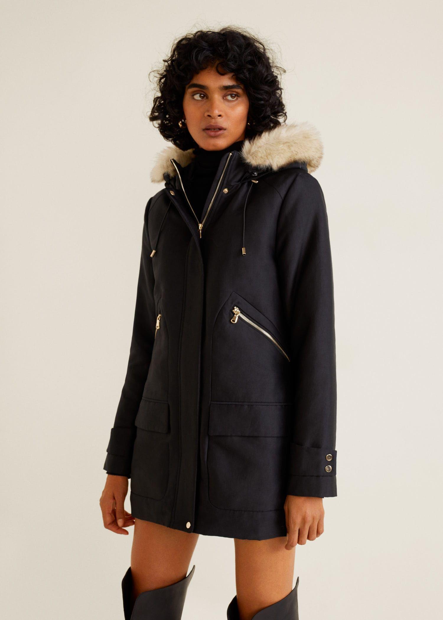 ... Mode Femme par IZIVA. MANGO PARTYT Parka capuche fourrure synthétique  Noir.  Mango  ManteauMango  modefemme  ManteauFemme cfbad410fe4e