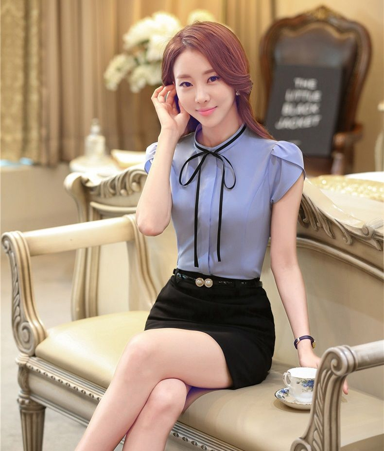 Summer Formal Women Work Wear Suits With Skirt And Top Sets Light Blue Blouse Shirts Fashion Las Office Uniform Style