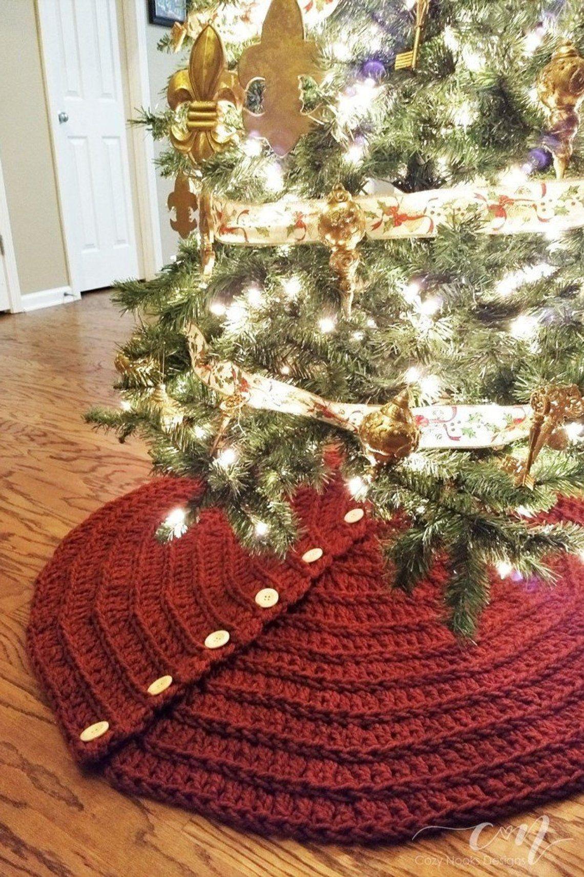 Farmhouse Christmas Tree Skirt Crochet Pattern Farmhouse Etsy Christmas Tree Skirt Crochet Pattern Christmas Tree Skirts Patterns Diy Christmas Tree Skirt