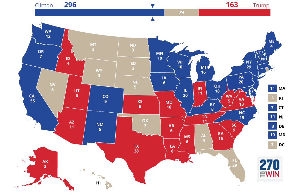 2016 Presidential Election Interactive Map | 270 to win ...