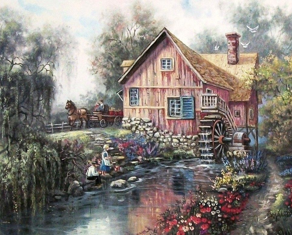 "Carl Valente Amish Prints  ""Willow Creek Mill"""