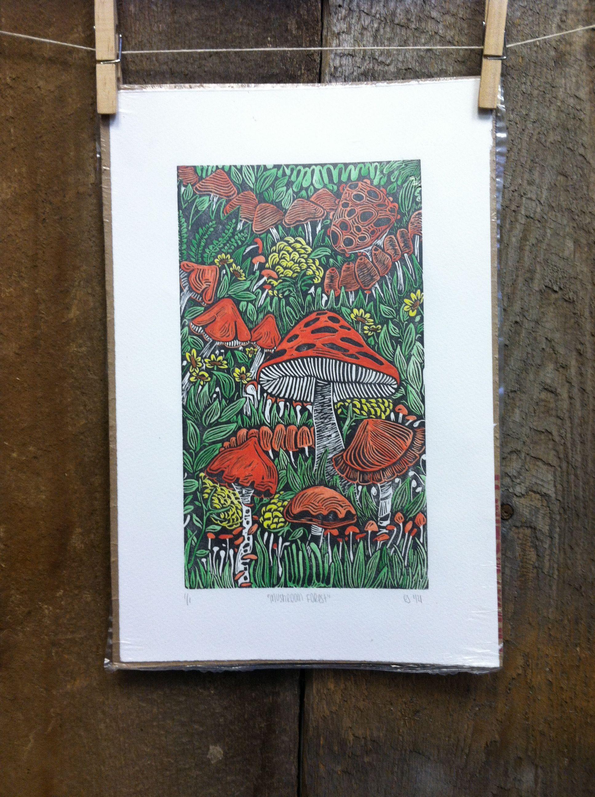 Mushroom Forest Linocut Print Colored Linocut Prints Linocut Print