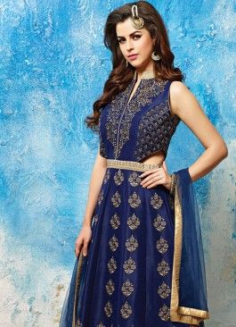 9f11053783 Imperial Navy Blue Banarasi Silk Readymade Designer Suit Glitzy Cotton  White Embroidered Unstitched Churidar Suit #salwarsuit #indian #trendy #red  ...
