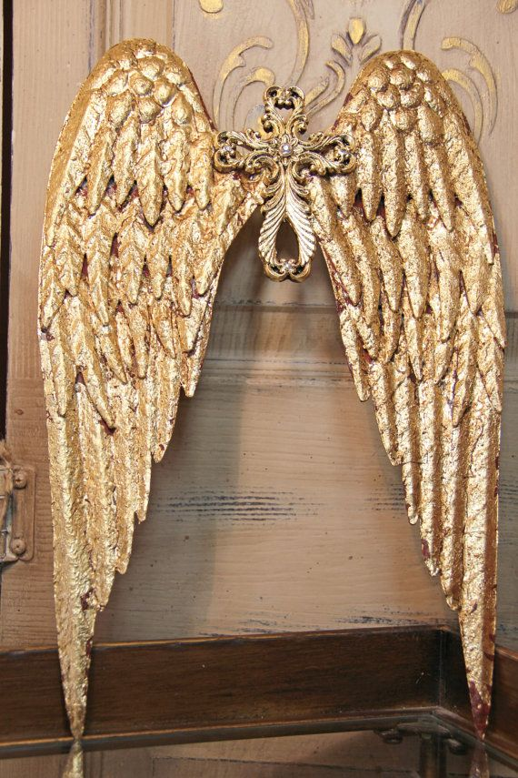 Metal Angel Wings Distressed Cross And Wing Wall Decor