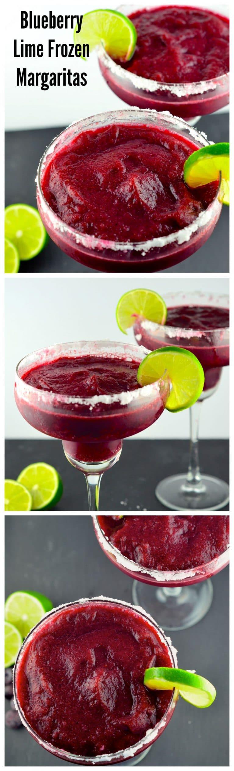 Blueberry Lime Margaritas #frozenmargaritarecipes Blueberry Lime Frozen Margaritas - May I Have That Recipe #frozenmargaritarecipes
