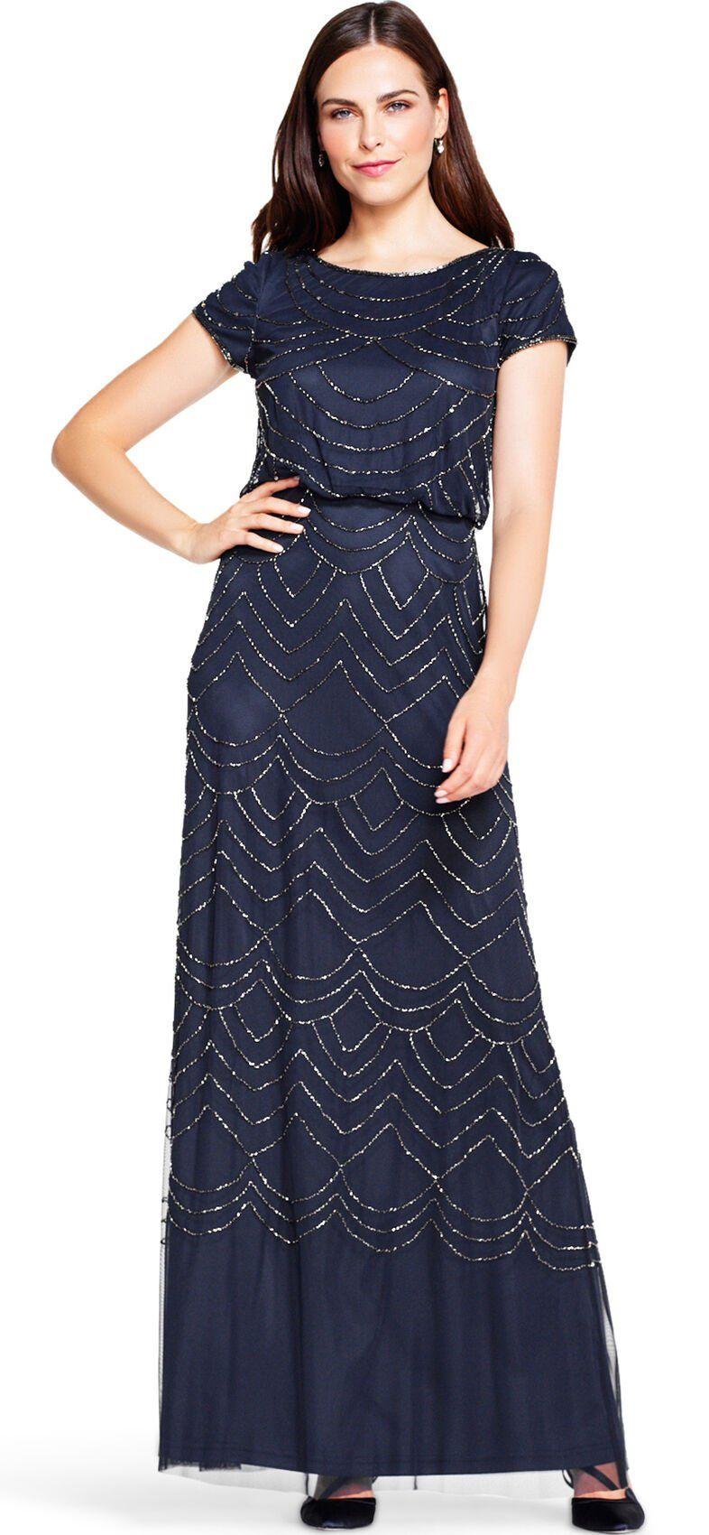 Short Sleeve Blouson Beaded Gown In Navy Evening Dresses With Sleeves Sleek Dress Beaded Gown [ 1700 x 786 Pixel ]