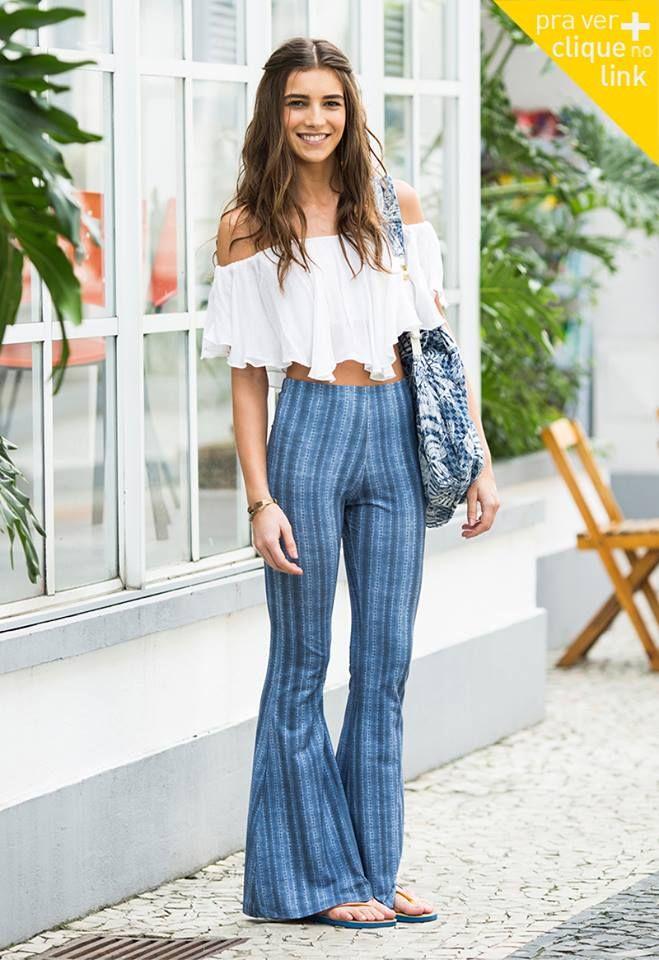 Resultado de imagem para looks com blusa ciganinha e calça cintura alta 2017