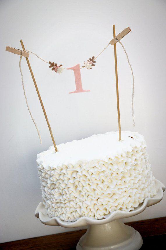 First Birthday Cake Banner One Smash Topp