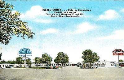 Roswell New Mexico NM 1950s Roadside View Pueblo Court Village Cafe Postcard