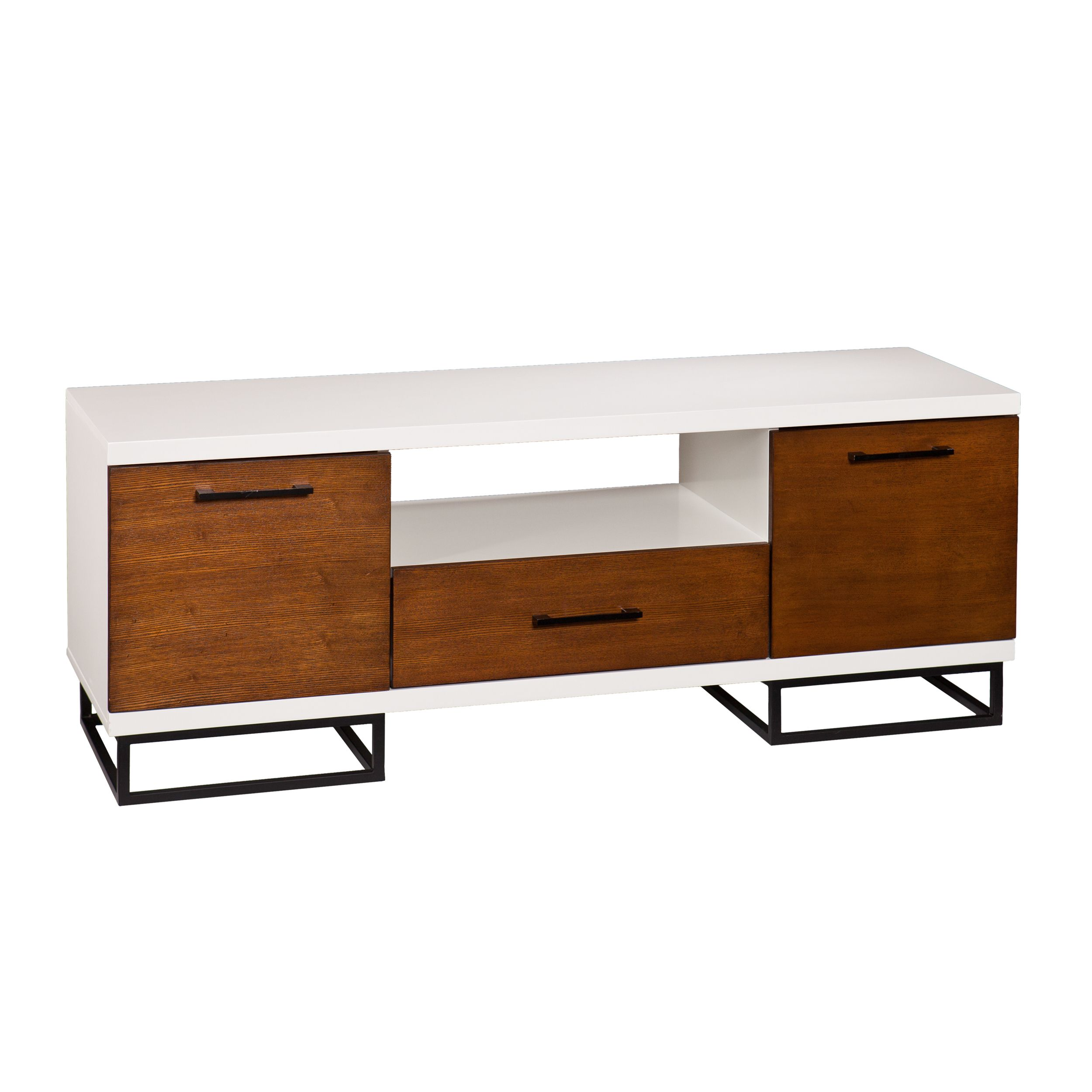 This Low Profile Media Console Features A Crisp White Body And Wood Grain Textured Fronts In Contrasting Dark Finish Linear Black Metal Pulls Add