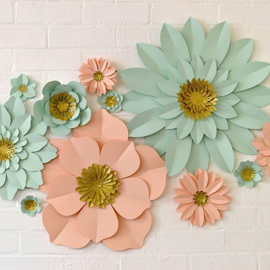 Handmade Glitter Centre Paper Flower Wall Display Paper Flowers