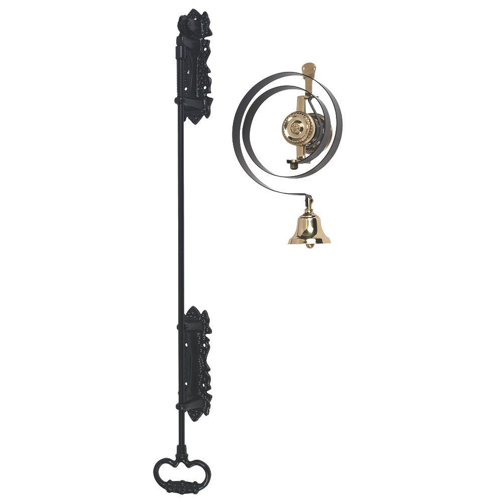Polished Chrome Traditional Butlers Bell Kit with Black Iron Pull