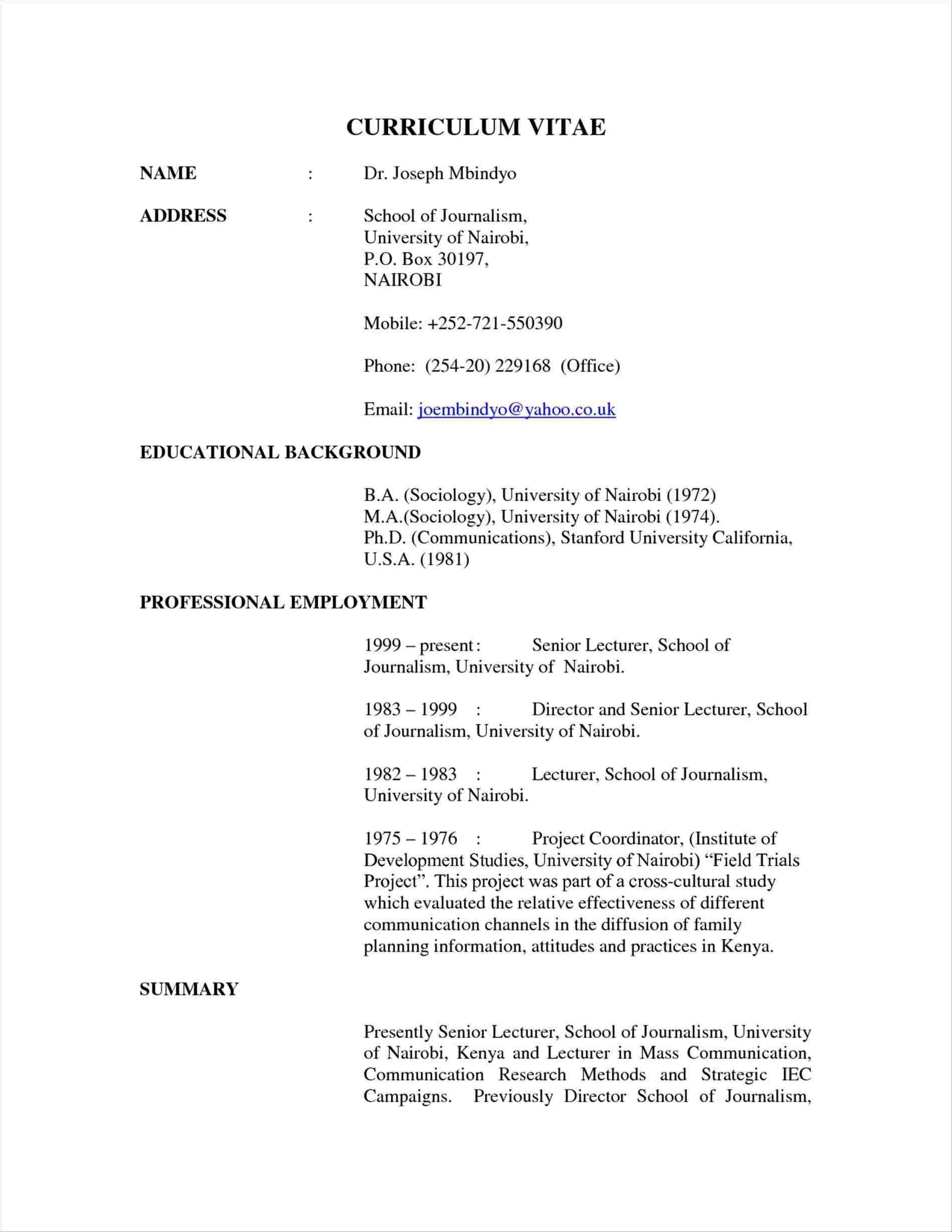 Cv Template Kenya Cv Template Cv Template Download Curriculum Vitae Examples