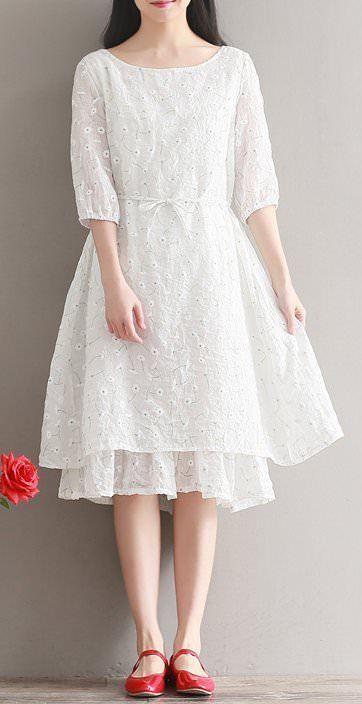 Women Plus Loose Summer Large Dress Flared Peplum Chiffon Lace Layered Skirt New | eBay