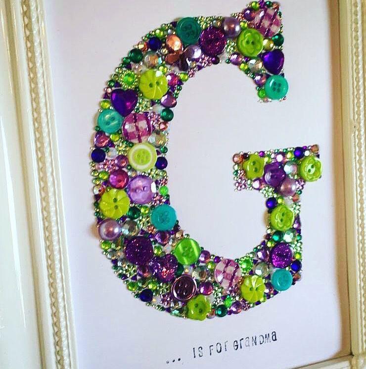 Handmade personalised initial frame. Swarovski crystal / button ...