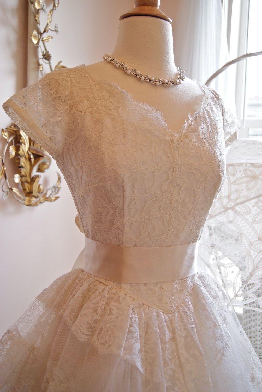 1950s style wedding dresses  Wedding Dress  s Wedding Dress  Vintage s White Lace
