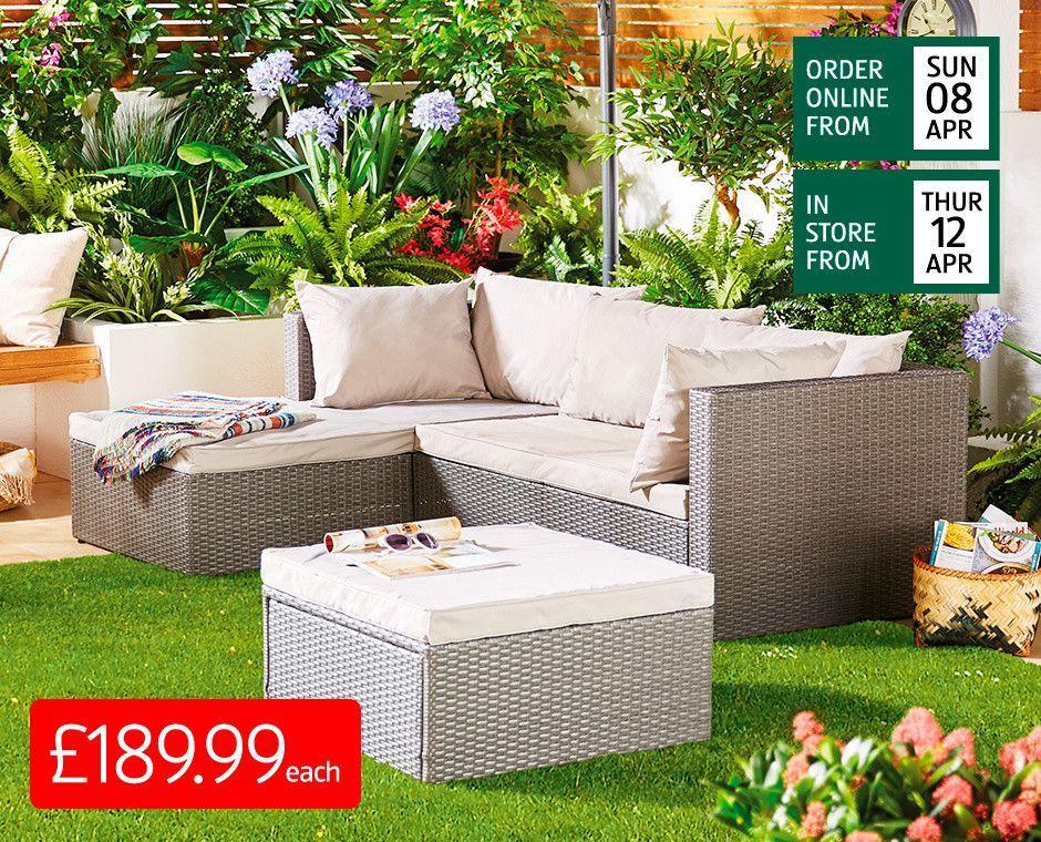 Garden Furniture Rattan Patio Furniture Sets Aldi Uk Aldi Furniture Garden Rattan Sofa Corner Out In 2020 Terrassen Deko Aussenmobel Gartentisch Mit Stuhlen