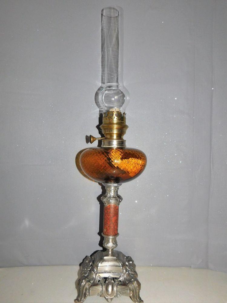 Lampe A Petrole Ancienne Pied Regule Toupie Et Colonne Orange Old
