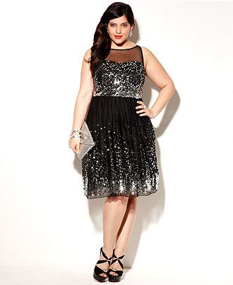 Ruby Rox Plus Size Dress Sleeveless Sequin Illusion Plus Size