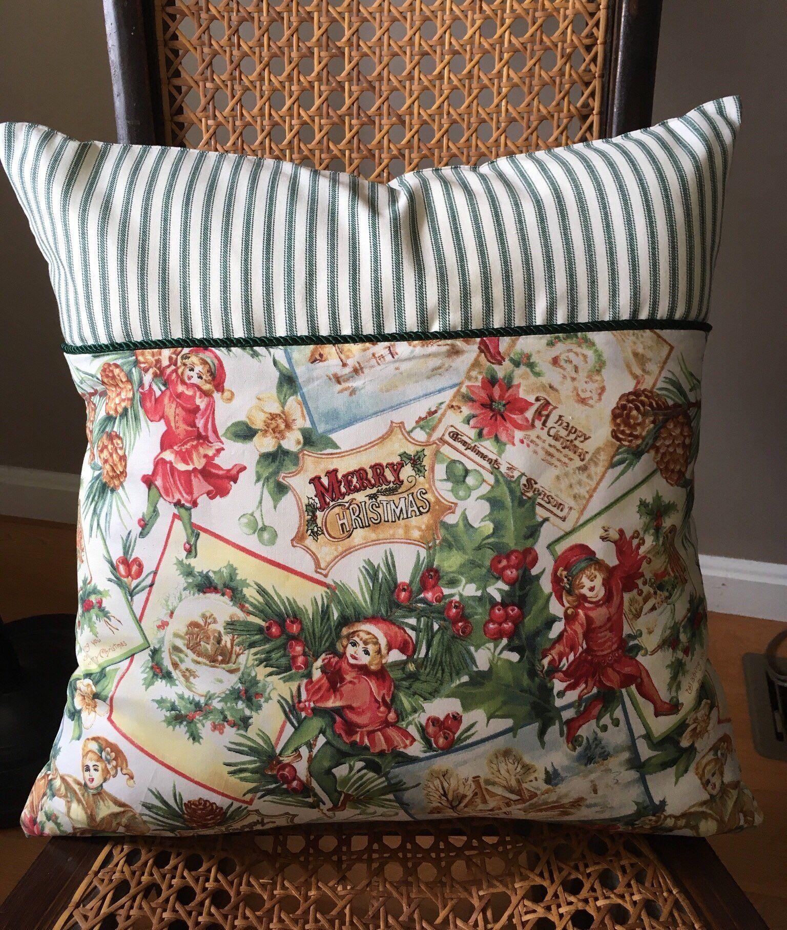 Christmas pillow vintage inspired christmas throw pillow cover