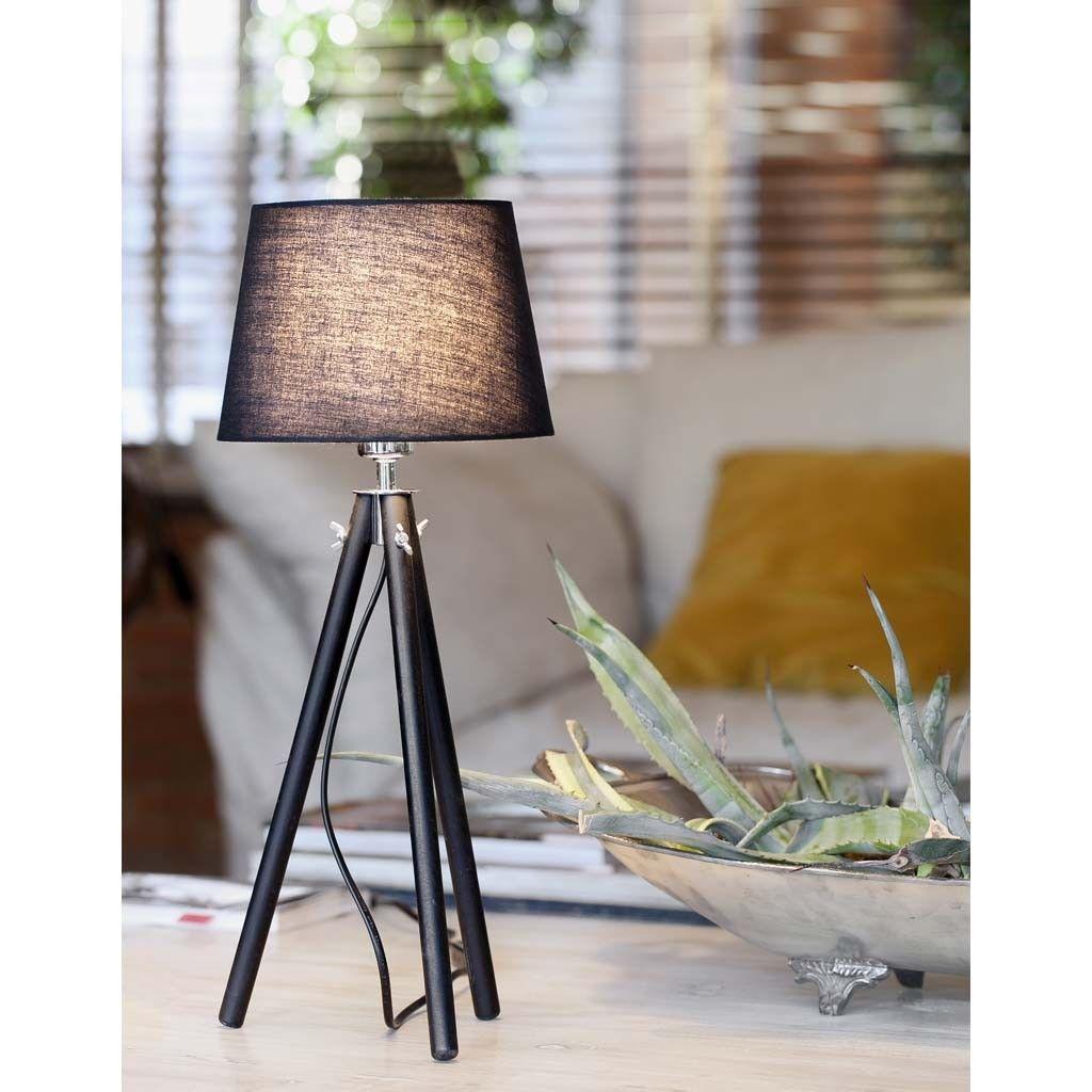 Lámpara de sobremesa Seyal, con estructura fabricada en madera y pantalla textil.