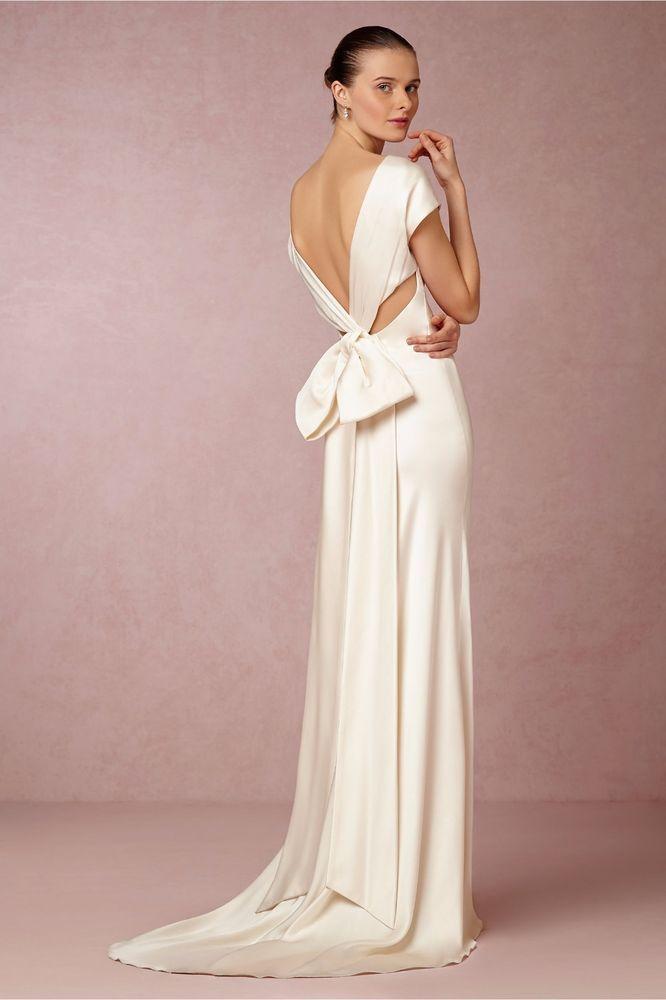 Bhldn Nicole Miller Silk Bias Dress With Bow Cassandra Sz 6 Ebay