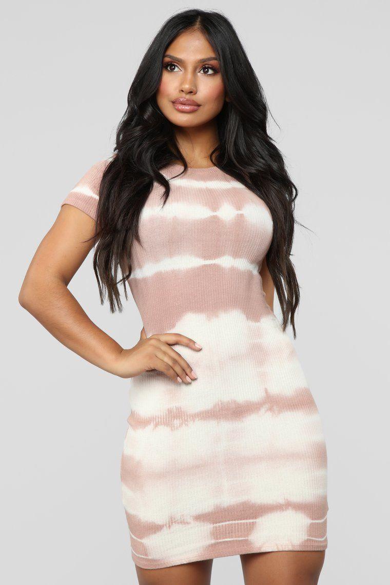 Here With Me Tie Dye Mini Dress Mauve/White Mauve