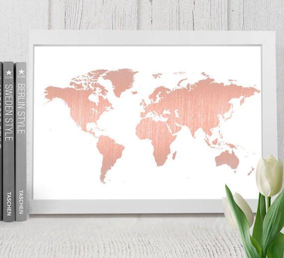 Rose Gold Welt Karte Drucken Druckbare Weltkarte Rosa Welt