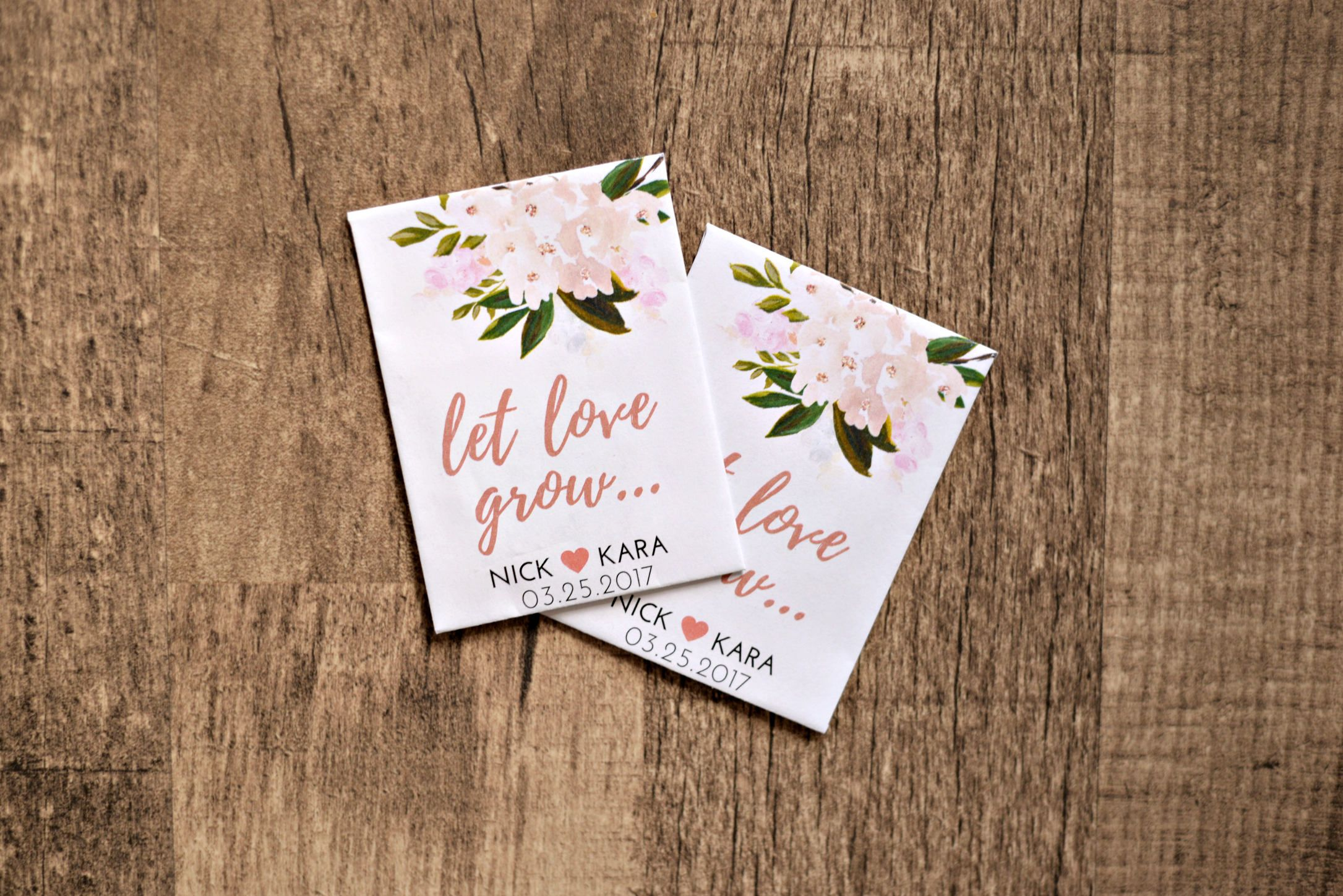 Blush Pink Let Love Grow Custom Seed Wedding Favors 50 Count