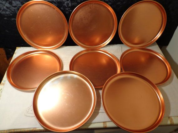 Set of 8 vintage anodized aluminum plates In a copper tone. & Anodized Aluminum Copper plates 8 Anodized copper colored plates ...