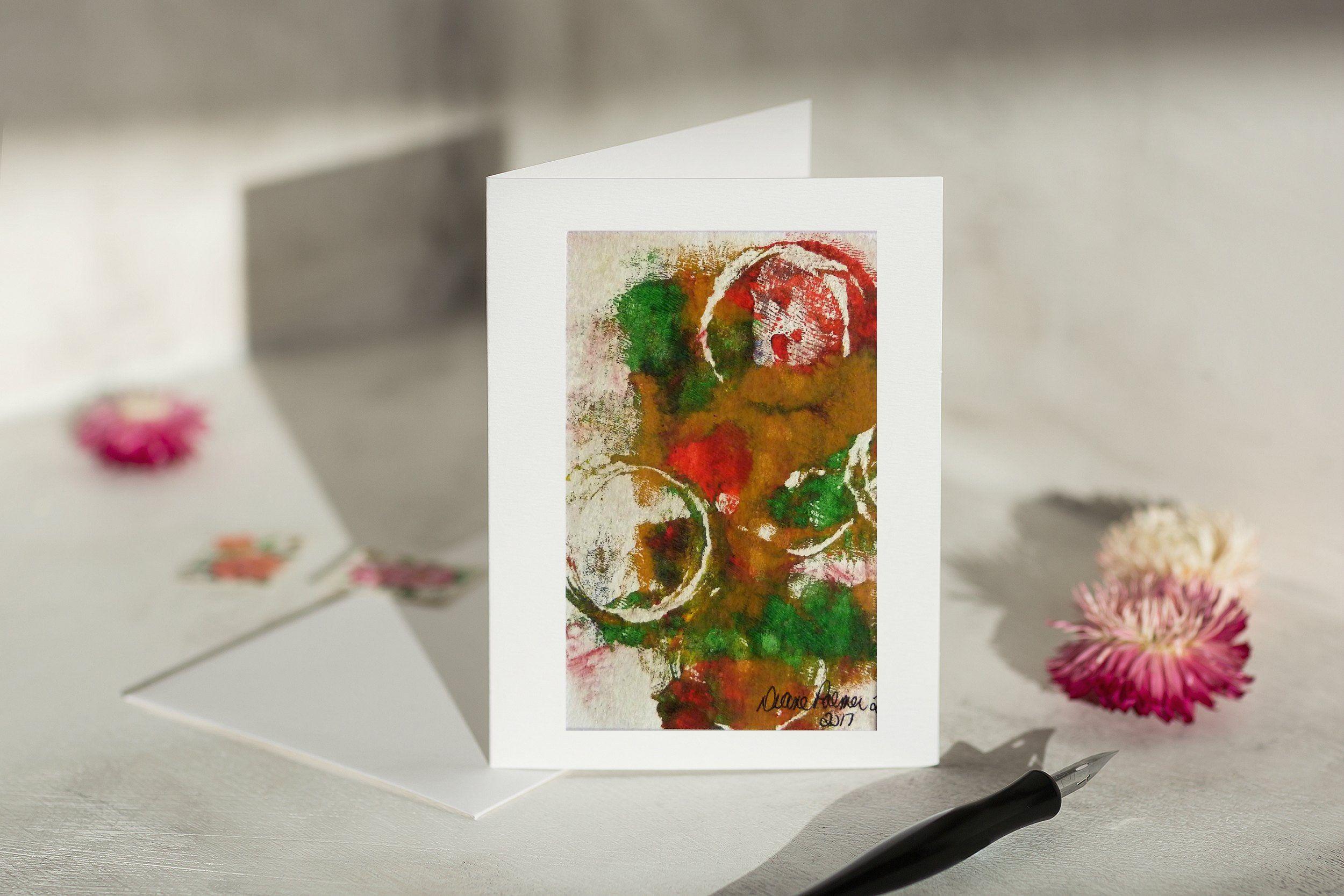 Abstract Art Handmade Card Abstract Wall Art Rustic Wall Art