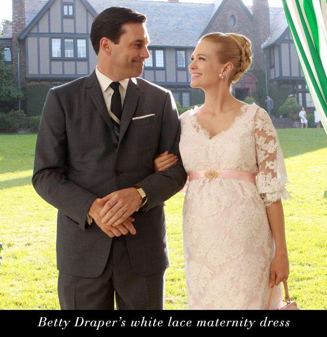 Mad Men Betty Draper Maternity white lace dress