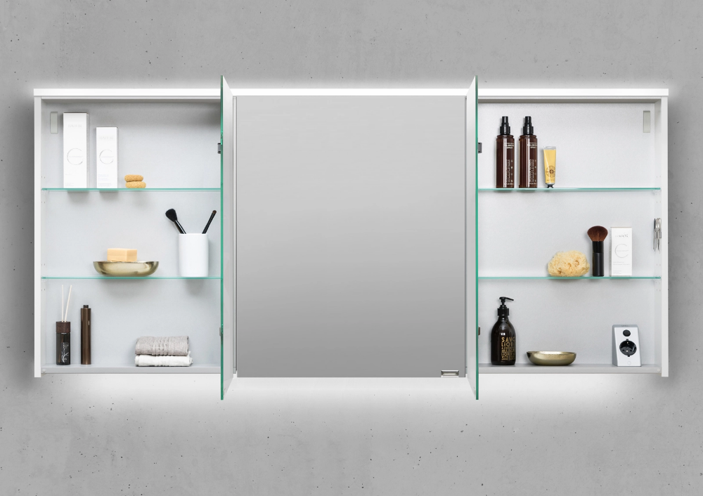 Spiegelschrank 160 Cm Integrierte Led Beleuchtung Doppelt Verspiegelt