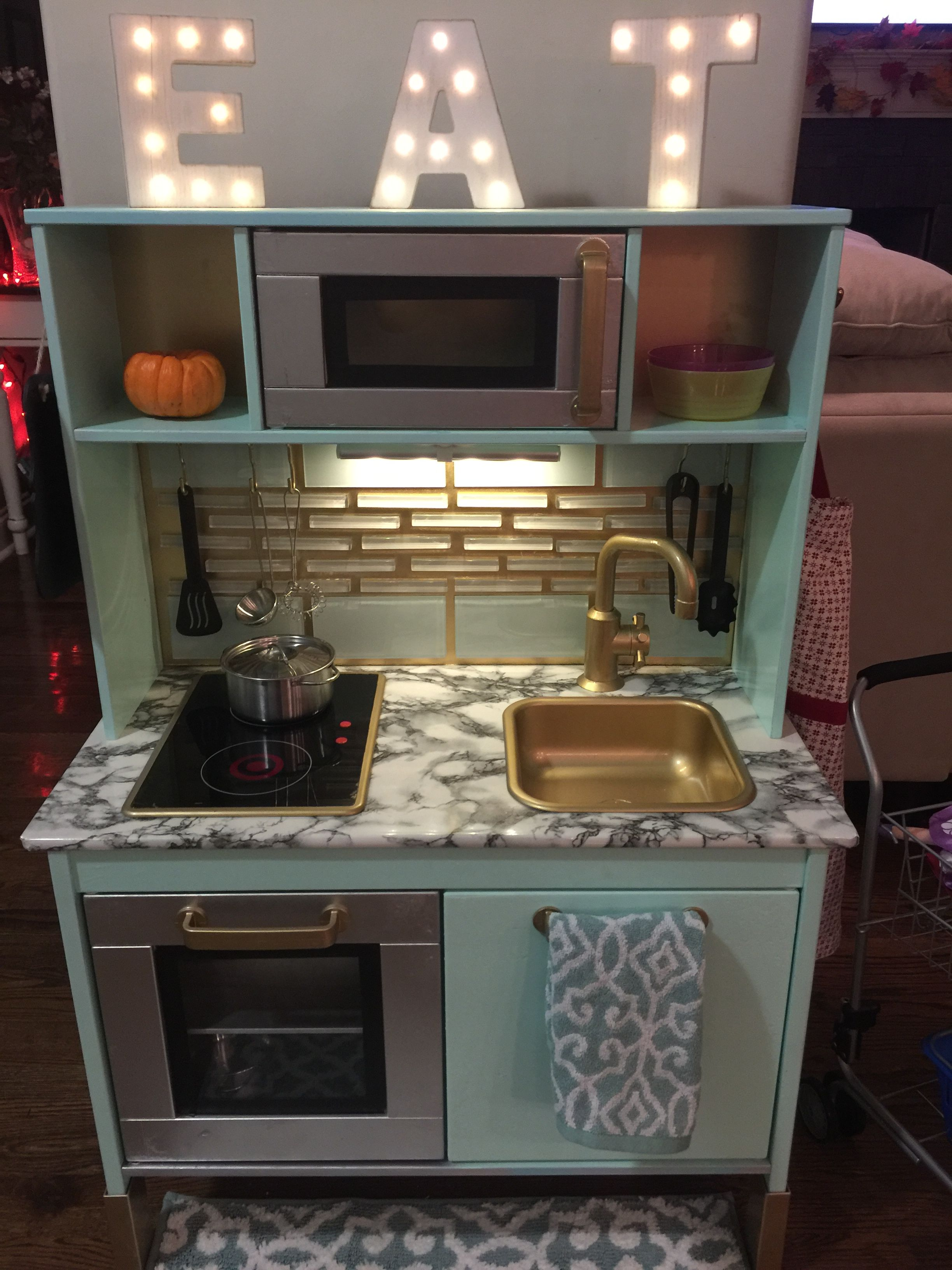 This kitchen set from IKEA turned out AMAZING. I painted