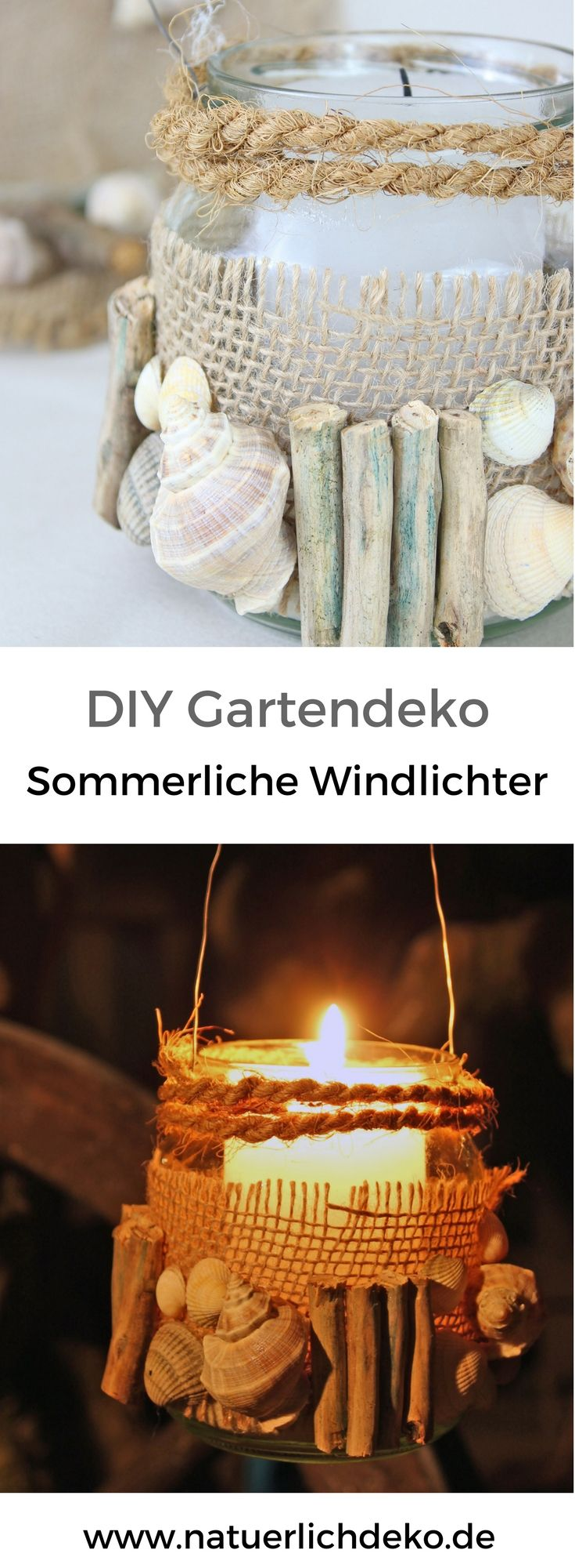 diy windlicht mit holz und muscheln nat rlich deko deko mit naturmaterialien pinterest. Black Bedroom Furniture Sets. Home Design Ideas